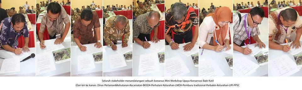 Penandatanganan Konsensus Stakeholder Mini-Workshop Upaya Konservasi Babi Kutil di Kota Banjar - Yayasan Cikananga Konservasi Terpadu
